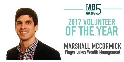 2017 Volunteer of the Year Marshall McCormick Finger Lakes Wealth Management