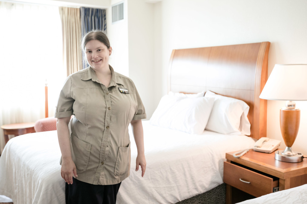 Elizabeth Ingram works as a housekeeper for Hilton, a position she found through her engagement with Challenge.